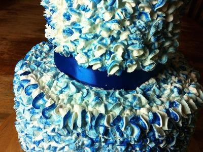 Blue Paper Mache Cake