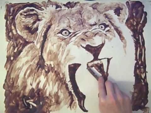 CHOCOLATE SYRUP PAINTING - Lion