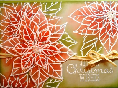 Christmas Card 2013 #6 - Emboss Resist Technique with Joyful Christmas Poinsettias