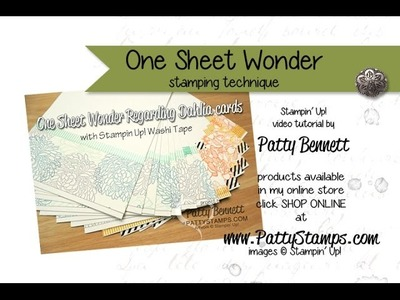 Create One Sheet Wonder Cards with Stampin' UP! stamps : PattyStamps video tutorial