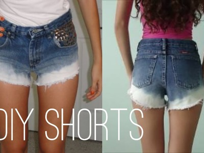 DIY $6: Studded Ombre Highwaisted Shorts From Jeans!