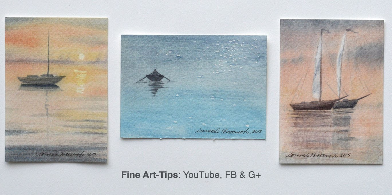How to Paint Sailing Boats in Watercolor - ACEO - 3 Art Card Originals