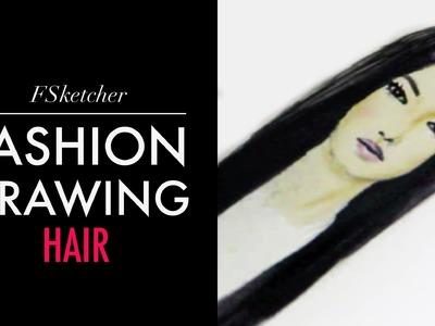 LONG BLACK HAIR | Fashion Drawing