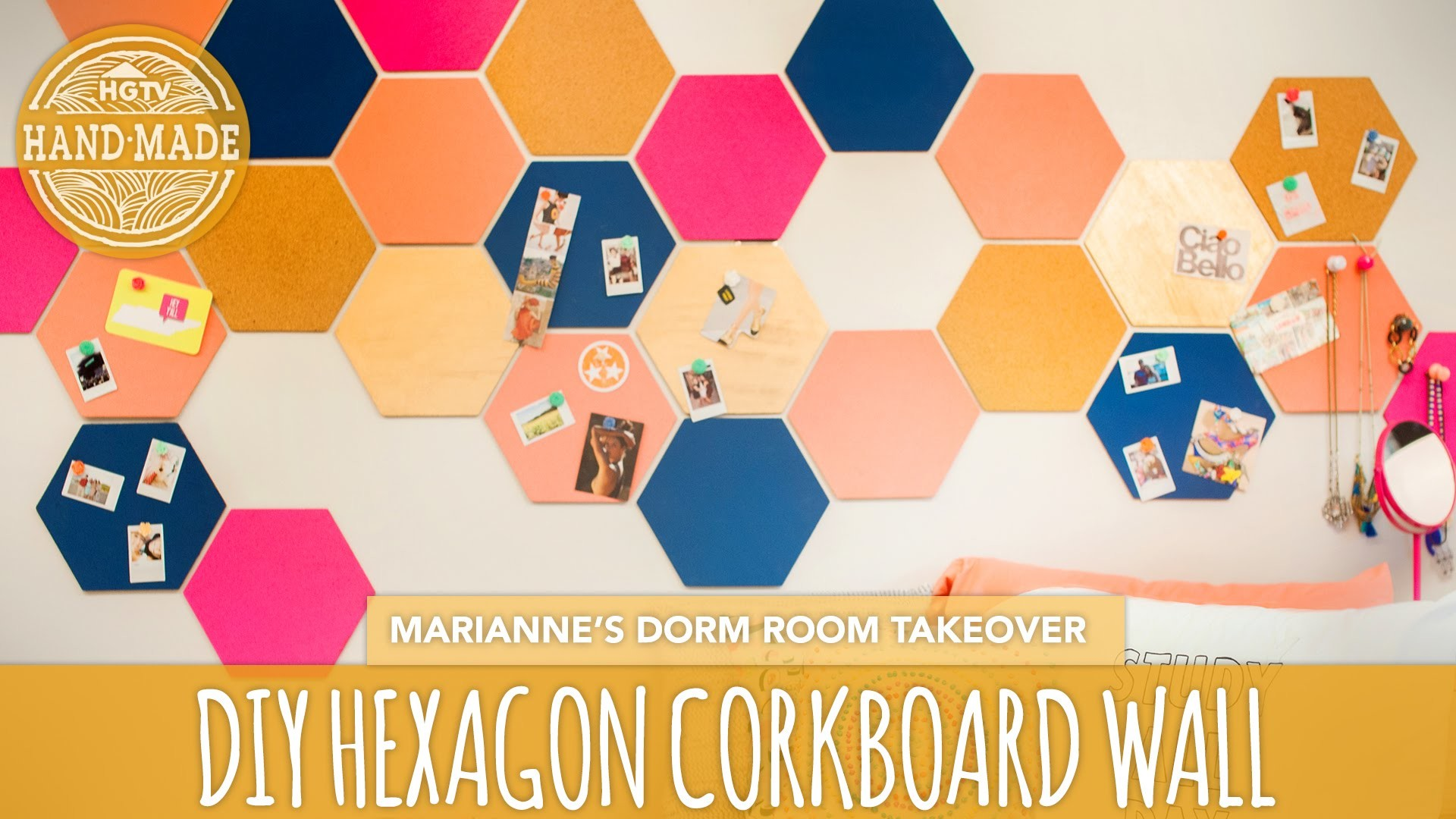 Back To School DIY: Hexagon Corkboard Dorm Decor - HGTV Handmade Dorm Room Takeover