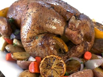 Citrus Roast Chicken w. Root Vegetables Recipe || KIN EATS