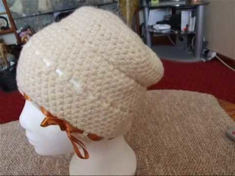 Crochet Beanie with Ribbon
