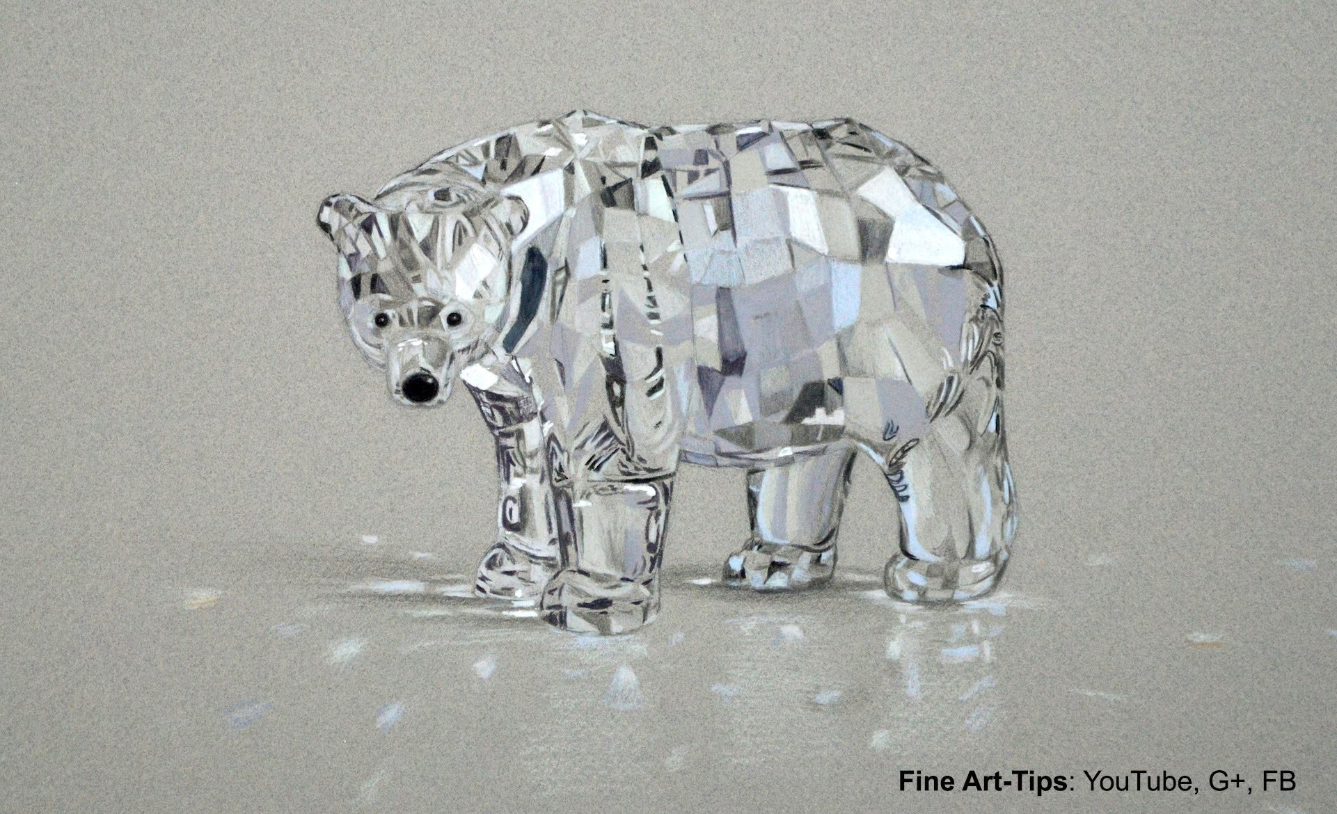 How to Draw a Swarovski Crystal Bear With Color Pencils - Glass
