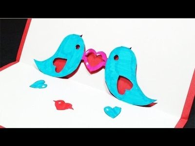How to make a Twitter Love Birds Pop Up Card | FREE Template - (Kirigami) Valentines Day Greetings!