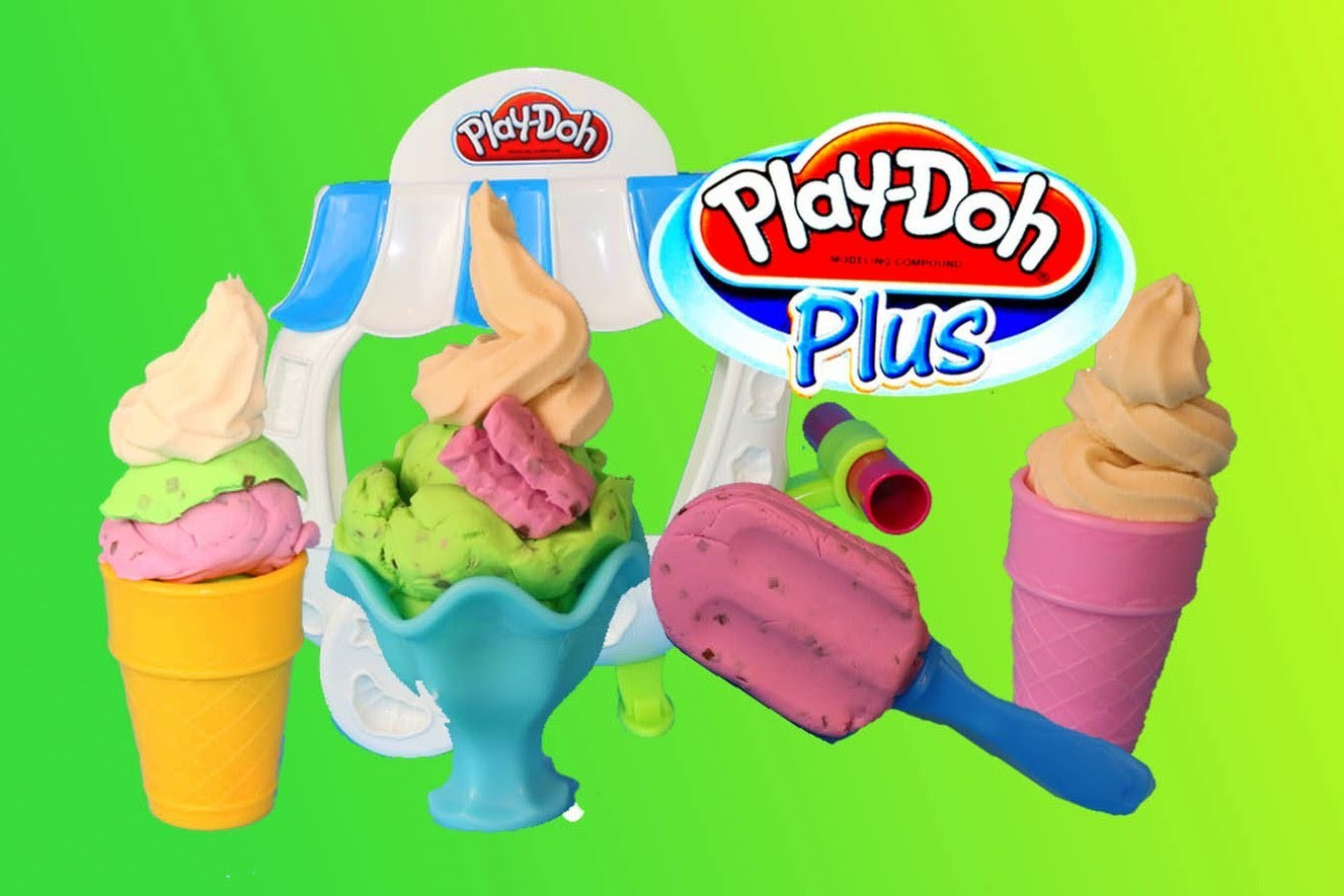 Play-Doh Plus Ice Cream Sundae Cart Popsicle, Ice-Cream, Mint Play Doh Sweet Shoppe Ice Cream Cone