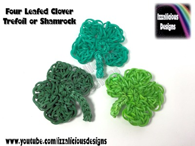 Rainbow Loom Four Leafed Clover.Trefoil.Shamrock (St Paddy's Day) Crochet Hook.Loom-less.Loomless