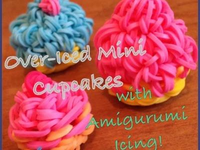 3D MINI Over-Iced Cupcake Charm with Amigurumi Icing (Rainbow Loom Tutorial)