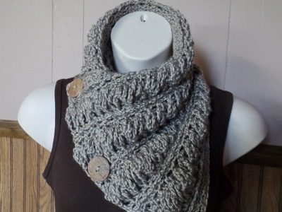#Crochet Gwenyths Cable Stitch Button Cowl Wrap Scarf #TUTORIAL