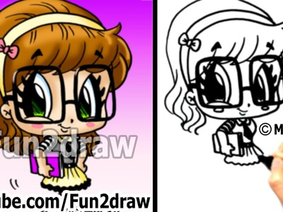 Cute Drawings - How to Draw Chibi - How to Draw a Nerd Girl - Popular Drawing Channels - Fun2draw