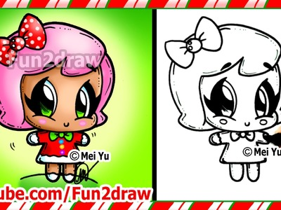 Cute Gingerbread Girl - How to Draw Christmas Easy Step by Step Beginners - Top Drawing Fun2draw