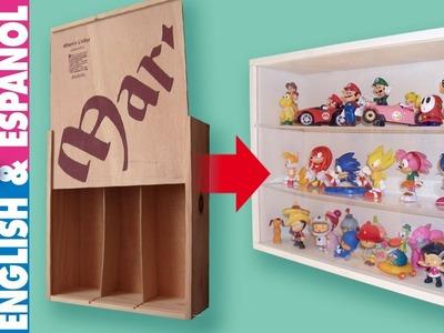 Cute idea! From wine crate to display case. Convierte una caja de vino en vitrina