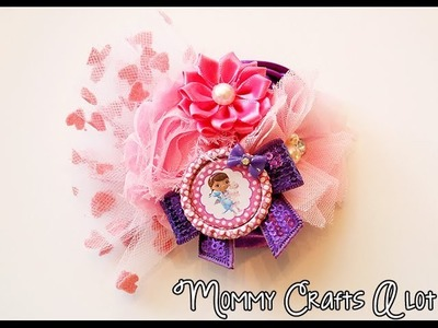 Day 3 (Bow a day) Doc McStuffins fascinator.Bottlecap tips for hairbows tutorial