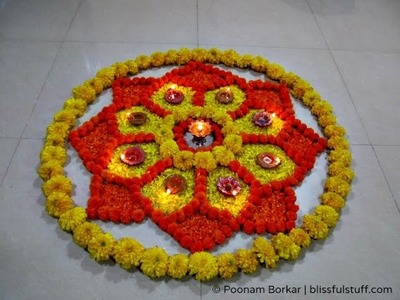 Diwali Special - Rangoli Design with marigold flowers and diya,How to make rangoli with flowers-VII