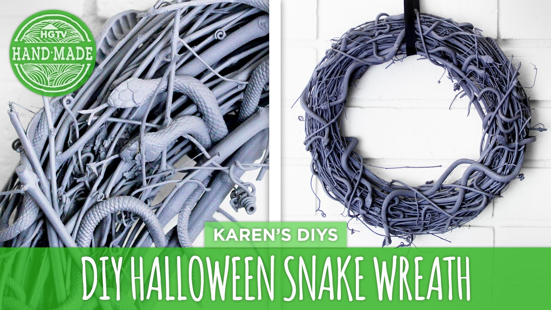DIY Halloween Snake Wreath - HGTV Handmade