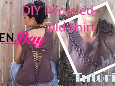 DIY RECYCLING AN OLD T- SHIRT - TRANSFORMING FRUMPY TO FASHIONABLE