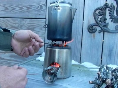 DIY UPCYCLED COFFEE CARAFE BECOMES A WOOD BURNING ROCKET STOVE