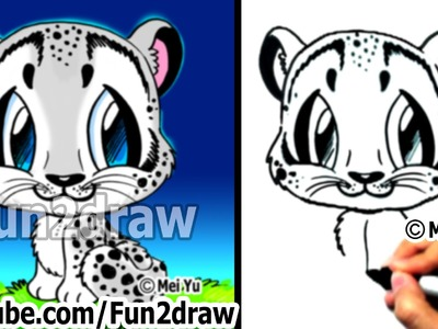 How to Draw Animals - How to Draw a Snow Leopard - Learn to Draw - Fun2draw