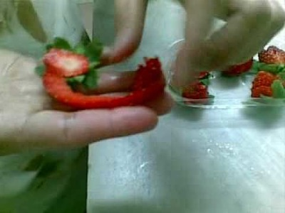 How to make rose flower from strawberry