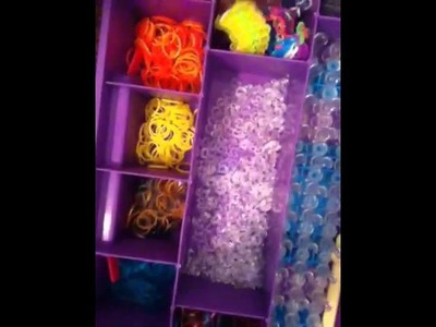 My rainbow loom case, rubber bands, and my creations!
