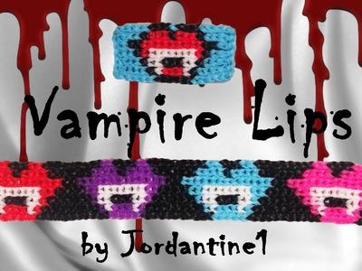 New Vampire Lips Kiss Bracelet. Charm Grid Pattern - Alpha. Rainbow Loom - Halloween