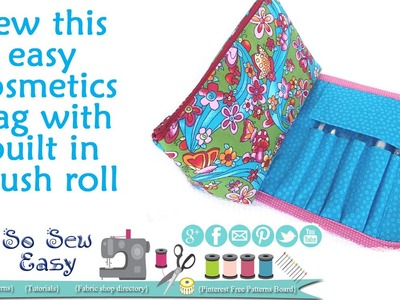Sew a cosmetics bag with brush roll