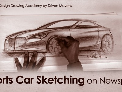 Sports Car Sketching on Newsprint Paper