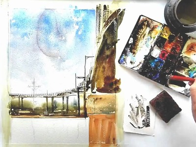 Watercolor Painting Demo by Vinita Pappas; Bridge Scene