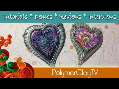 Zentangle Magic Heart pendants how to use silkscreens and cabezels with polymer clay