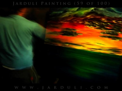 59. Painting sea sunset on a huge canvas