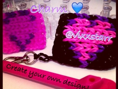 CUTE! Heart Mini Mural Charm (or design your own) Rainbow Loom Tutorial