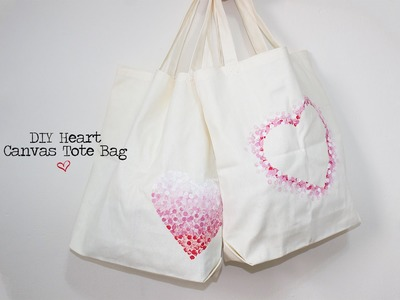 DIY Heart Canvas Tote Bags