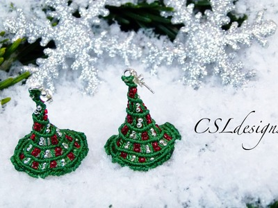 Micro macrame 3D christmas tree earrings | Christmas
