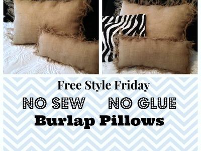 No Sew No Glue Burlap Pillows