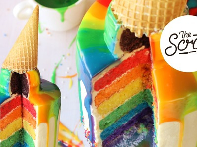 RAINBOW CAKE WITH MELTING RAINBOW ICE CREAM - The Scran Line