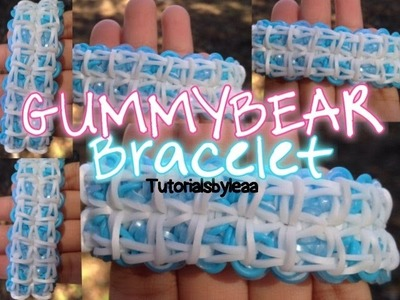 Rainbow loom GUMMY BEAR bracelet tutorial|'TUTORIALSBYLEAA
