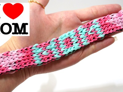 "Rainbow Loom "" I LOVE MOM "" bracelet with forks no hook - Colorful Rubber Bands DIY"
