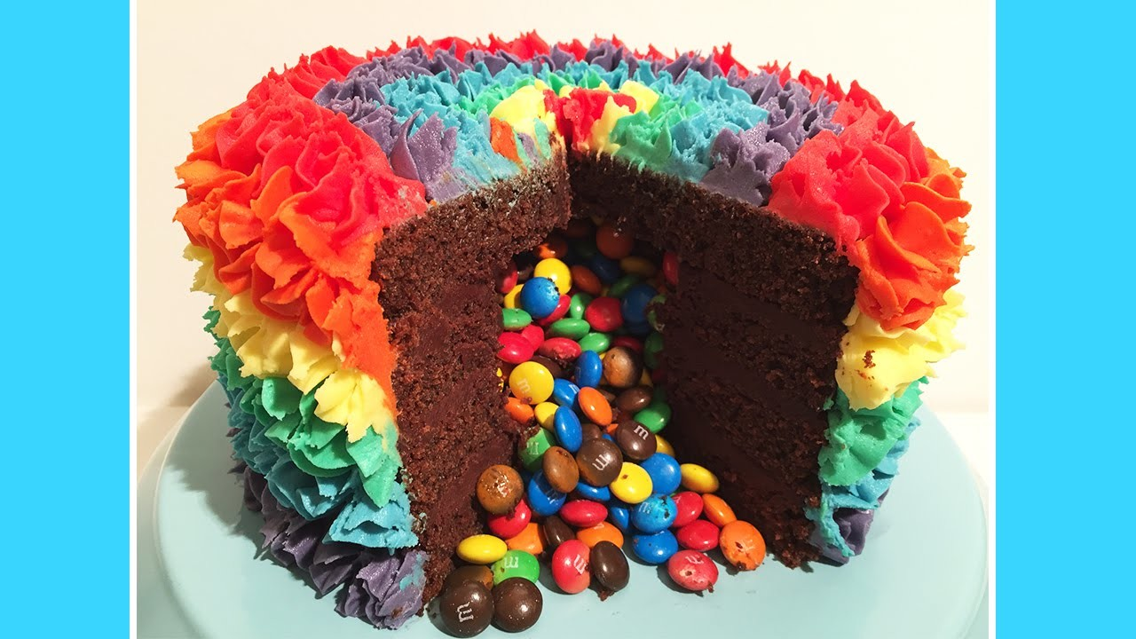 Rainbow Surprise Piñata M&M Cake - Cheeky Crumbs