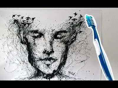 Speed painting with a toothbrush ! Drip Portrait | ARTgerecht #8