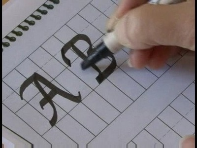 Writing Cursive Italic Calligraphy : Writing Upper Case A-F in Calligraphy