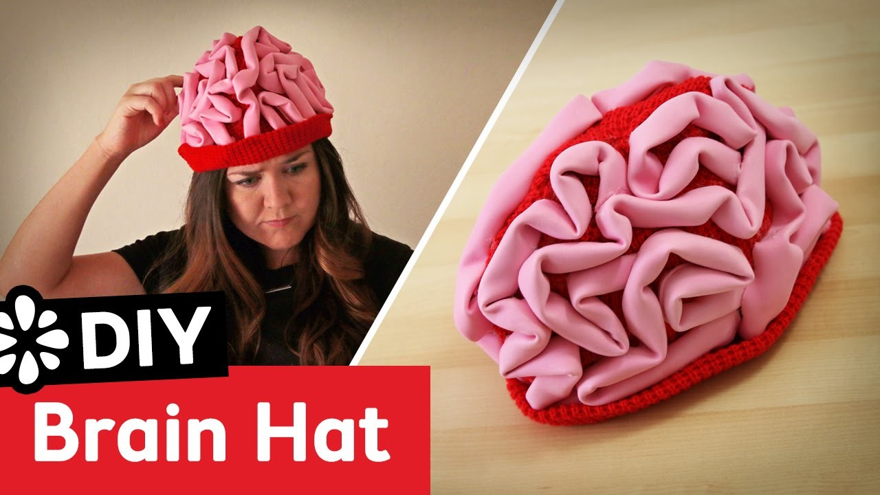 DIY Brain Hat Halloween Costume