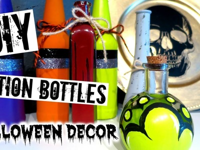 DIY Halloween Decor | POTION BOTTLES!!