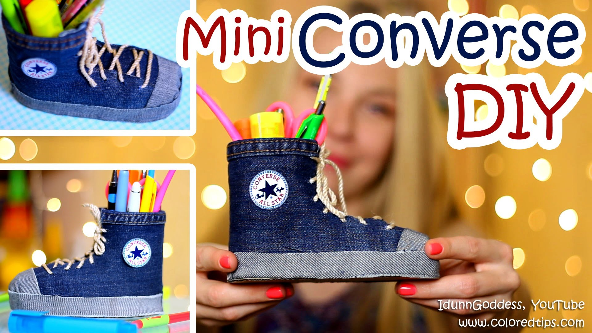 DIY Mini Converse Shoes Pen Holders Out Of An Old Jeans and Plastic Bottle (NO SEW)
