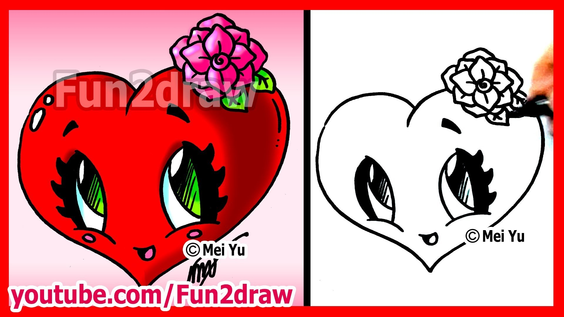 How to Draw Easy Things - Heart with Rose - Fun2draw Valentine's