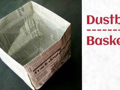 Useful Origami - Paper Thrash bin. Dustbin (Newspaper) - Go Green - Very easy to make !