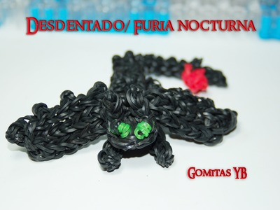 Desdentado, Furia Nocturna con gomitas.Toothless, Night Fury Rainbow Loom