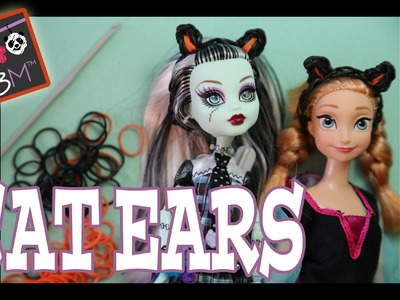 DIY Halloween Black Cat Ears for Barbie, Monster High Dolls | Loom Band Tutorial